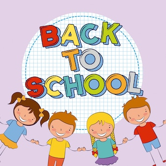 Four kids back to school illustration
