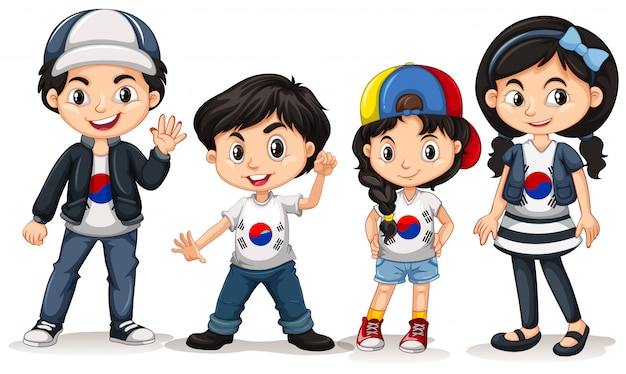 Four kids from south korea