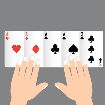 Four of kind poker winning, playing card concept