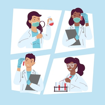 Four laboratory workers staff characters