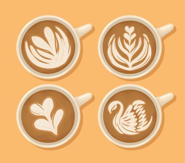 Four latte cups