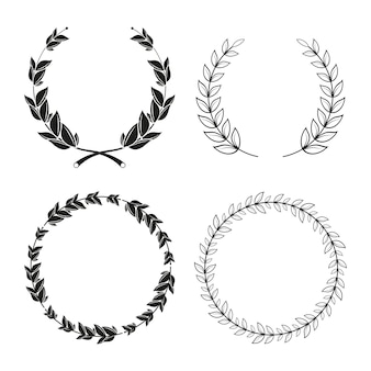 Four laurel wreaths