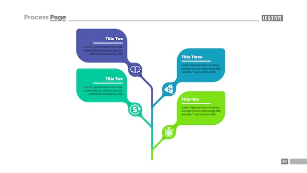 Four leaves tree metaphor process chart template for presentation.