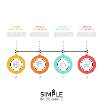 Four lettered circular elements successively connected by line and text boxes. 4 steps of company's growth concept. minimal infographic design layout.