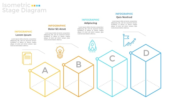 水平方向の行、線形記号、およびテキストの場所に配置された4文字のアイソメ要素。ビジネスの成長と進歩の4つの段階の概念。インフォグラフィックデザインテンプレート。ベクトルイラスト。