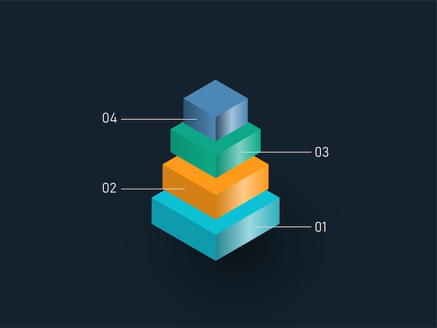Четыре уровня 3d пирамиды с красочными блоками для бизнес-концепции инфографики powerpoint.