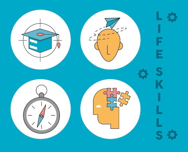Four life skills icons