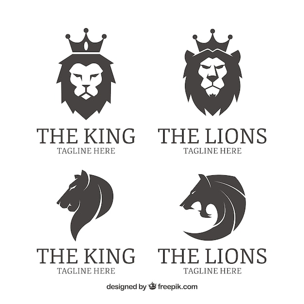 Free Four Lion Logos , Black And White Vector