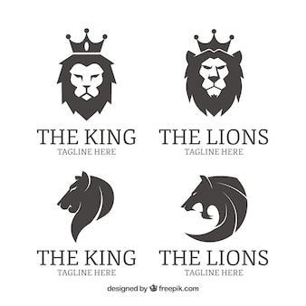 Four lion logos, black and white