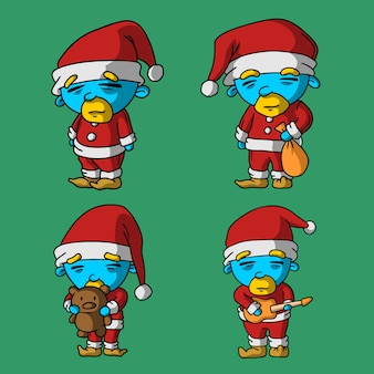Four little and cute santa hand drawn style