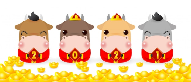 Four little ox holding a signs with chinese gold, happy new year 2021 year of the rat zodiac