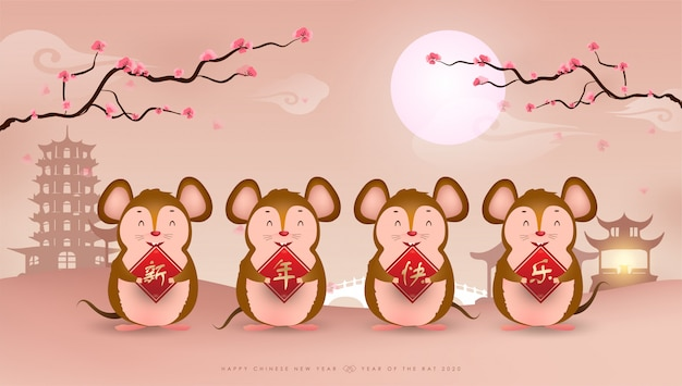 Four little rat with scroll and beautiful flowers chinese new year