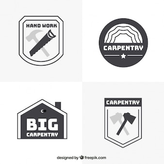 Four logos for carpentry, black and white