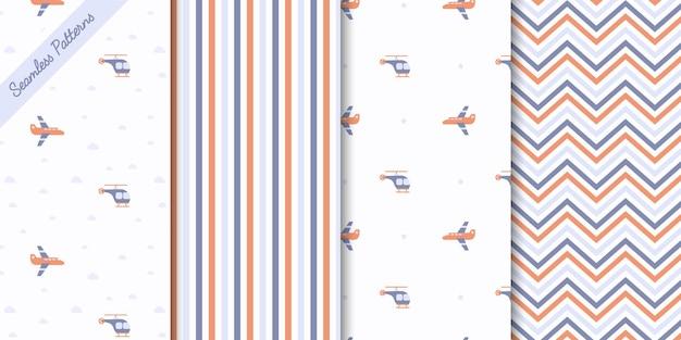 Four lovely boys seamless patterns premium vector