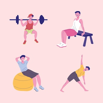 Four men fitness practicing sports