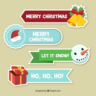 Four merry christmas stickers