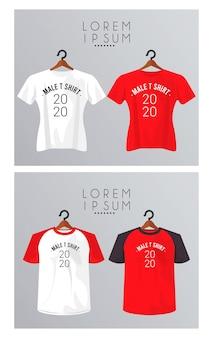 Четыре макета рубашки висят на прищепках.