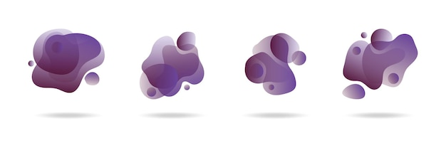 Four modern liquid amoeba blob shape abstract elements graphic flat style design fluid vector illustration set banner simple shape template for presentation, flyer, isolated on white background