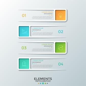 Four modern rectangular frames with numbers, linear icons and place for text inside placed one below other. concept of list with 4 options or steps. infographic design template.