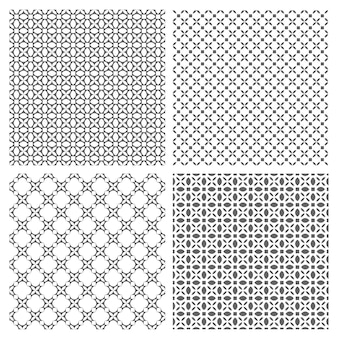 Four monochrome seamless patterns in oriental style