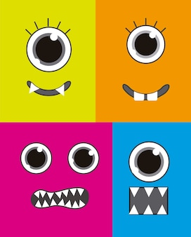 Four  monster faces background colorful vector illustration