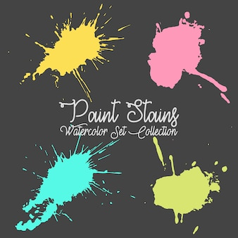 Four multicolored paint stains set collection