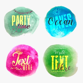 Four multipurpose trendy watercolor party banners