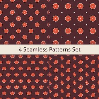 Four music vinyl disc patterns set. flat style vector seamless texture background. musical template. retro vintage vinyl record