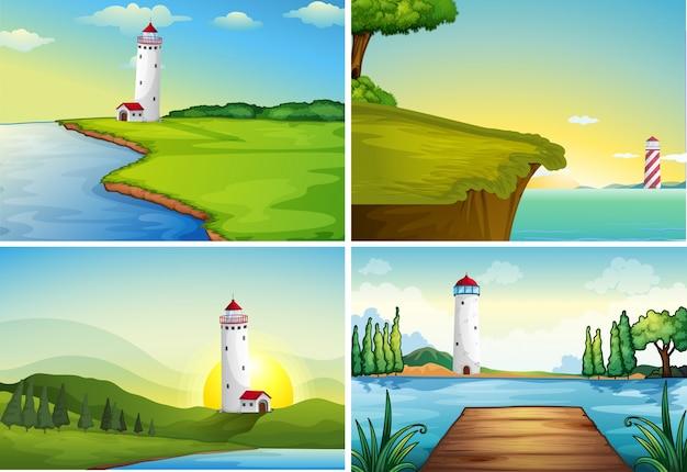 Четыре сцены природы с маяком у океана