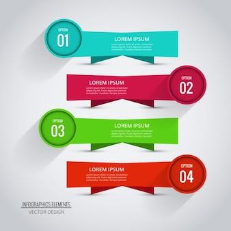 インフォグラフィックテンプレートの四つの素敵なバナー