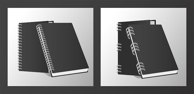 Four notebooks mockup color black.