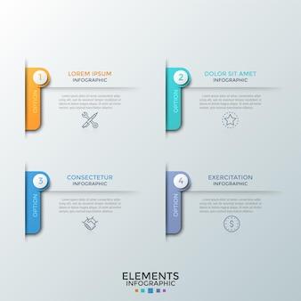 細い線の記号が付いた4つの番号付き要素、見出しとテキストまたは説明の場所。スタートアッププロジェクト開発の4つの機能の概念。インフォグラフィックデザインテンプレート。ベクトルイラスト。