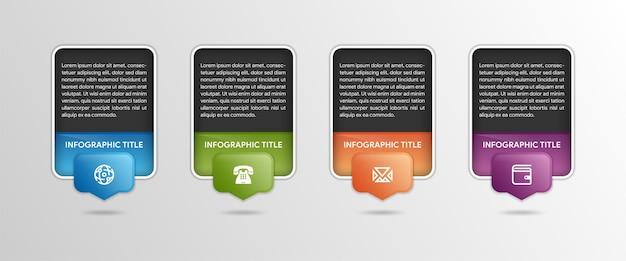 水平方向の行に配置された4つの番号の付いた長方形の吹き出し4ビジネスステップの概念黒の背景を持つフラットなインフォグラフィックデザインテンプレートプレゼンテーションバナーのベクトルイラスト