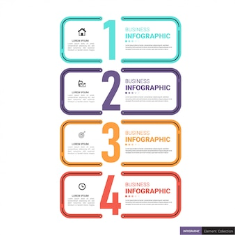 Four numbers infographic template in flat style.