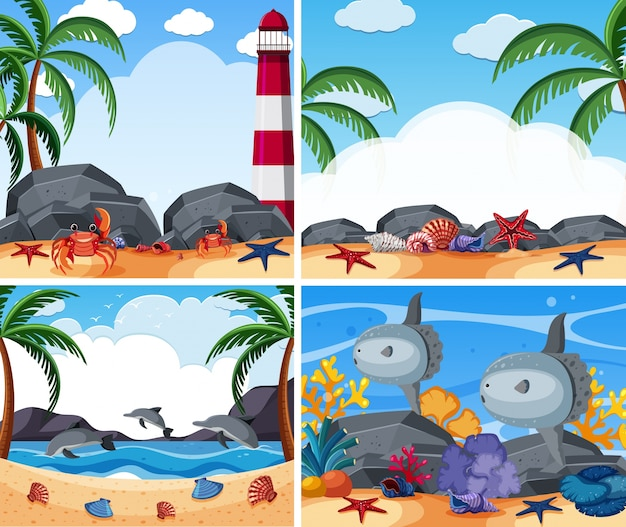 동물과 해변이있는 4 개의 바다 장면