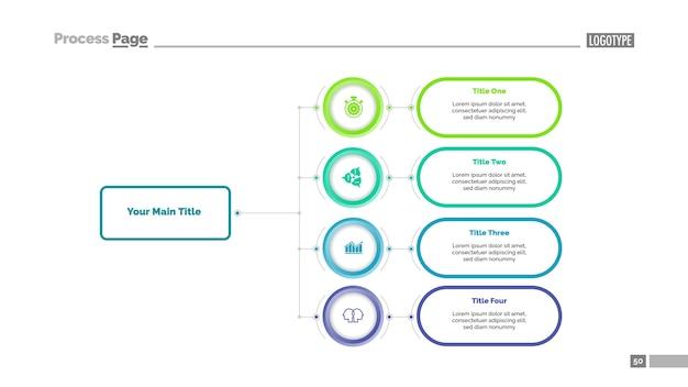 4つのオプションのフローチャートスライドテンプレート