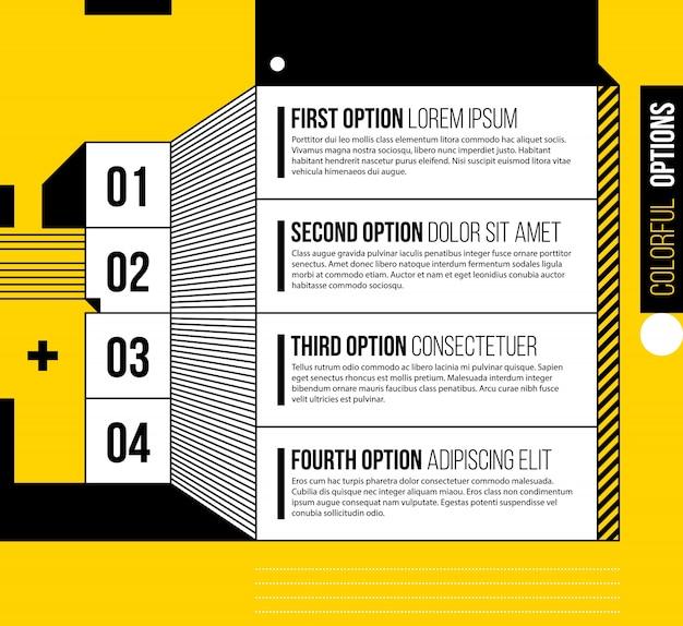 밝은 노란색 배경에 멋진 기하학적 스타일의 네 가지 옵션