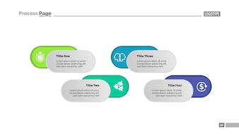 Four options solution process chart template for presentation. Business data.