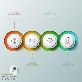 Четыре перекрывающихся полупрозрачных круглых элемента с линейными пиктограммами внутри помещены в горизонтальную линию и текстовые поля. концепция четырех последовательных шагов для завершения проекта.