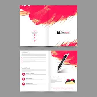 Four pages brochure, template layout with abstract brush strokes and realistic digital tablet design for business concept.