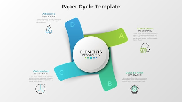白い円の周りに配置された4つの紙のカラフルな長方形の要素。リアルなインフォグラフィックデザインテンプレート。周期的なビジネスプロセスの視覚化、プレゼンテーションのための現代のベクトル図。