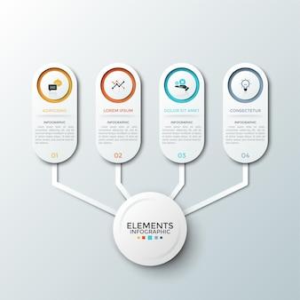 Четыре бумажных белых элемента с плоскими пиктограммами и местом для описания внутри соединены с основным кругом. понятие схемы с 4 вариантами числа. шаблон оформления инфографики.