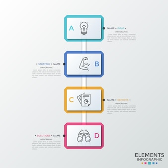 Four paper white rectangular elements with linear icons inside connected into vertical row. concept of idea implementation strategic plan. infographic design layout. vector illustration for report.