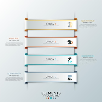 Четыре бумажные белые ленты с плоскими символами внутри размещены одна под другой и текстовые поля. концепция списка с 4 вариантами бизнеса. творческий инфографический шаблон дизайна. векторная иллюстрация для отчета.