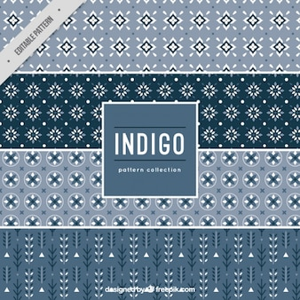Four patterns indigo style