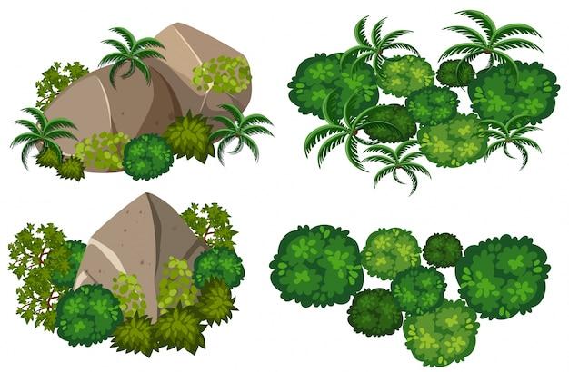 덤불과 바위의 4 가지 패턴