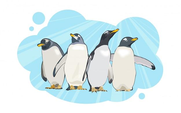 青色の背景に4つのペンギンのキャラクター。図