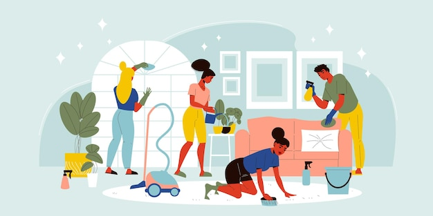 Four people cleaning up living room with vacuum cleaner brush cloth and watering flowers flat illustration