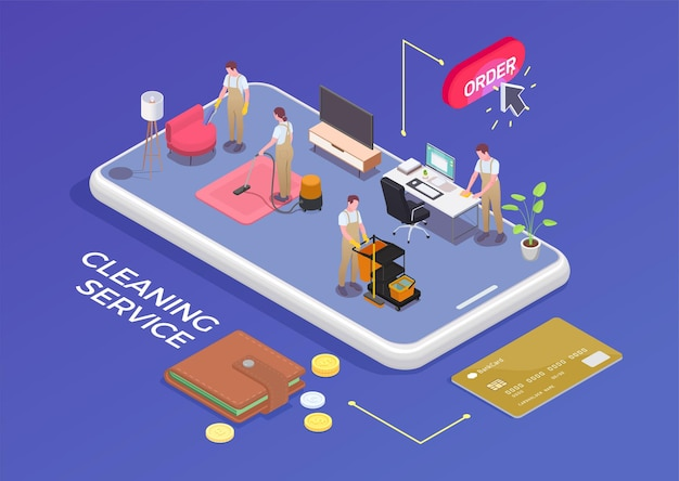 Four people from cleaning service mopping hoovering dusting furniture isometric concept