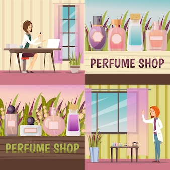 Four perfume shop icon set